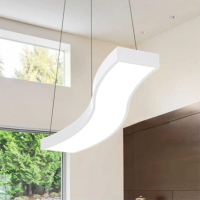 Linear Led Pendant Lighting Contemporary Metal Wave Hanging