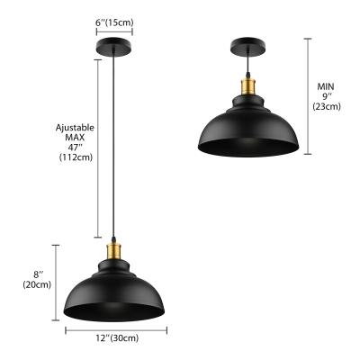 Matte Black Dome Single Pendant Light in Retro Loft Style for Kitchen Island Farmhouse Restaurant