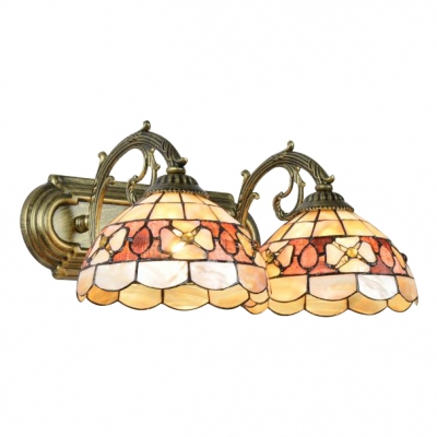 Metal Shelly Wall Sconce Tiffany Style Double Heads Wall Sconce in Beige for Living Room