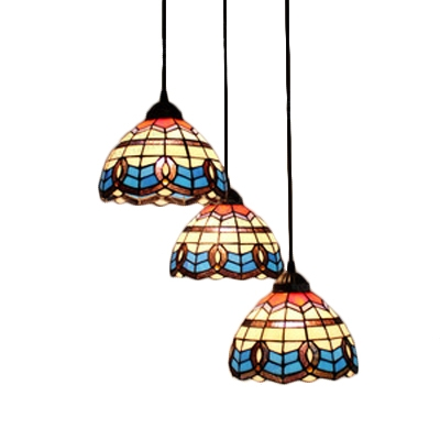 Multicolored Dome Hanging Light Vintage Baroque Stained Glass Accent Triple Drop Light