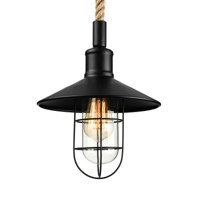 Nautical Style 1 Light Saucer LED Pendant with Glass Shade and Rope Chain