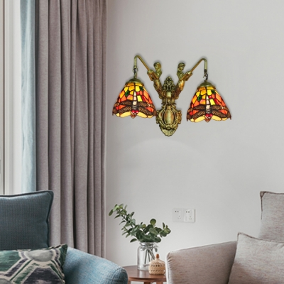 Stained Glass Dragonfly Lighting Fixture Tiffany Style Double Heads Wall Lamp with Mermaid