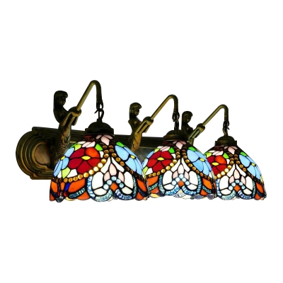 Stained Glass Jeweled Wall Lamp Vintage Tiffany 3 Heads Sconce Lighting in Multicolor