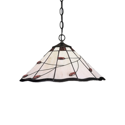 Tiffany Style Umbrella Hanging Light Stained Glass Suspension Light with Red Bead