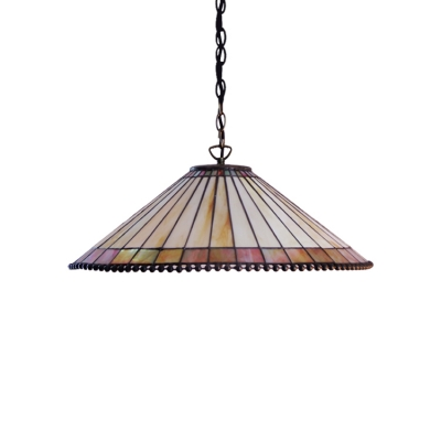 2 Heads Umbrella Drop Light Tiffany Retro Style Stained Glass Suspended Light in Bronze