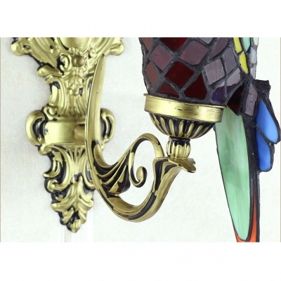 6-Inch Wide Tiffany Double Light Wall Sconce with Colorful Parrot Shaped Shade