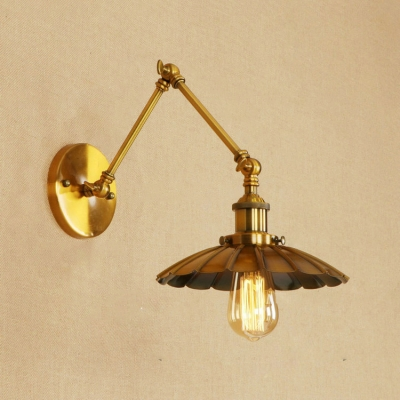 Adjustable 1 Light Flared Wall Lamp Industrial Metal Wall Sconce in Brass for Living Room