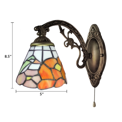 Bird Design Dome Wall Sconce Tiffany Style Stained Glass in Multicolor Wall Light