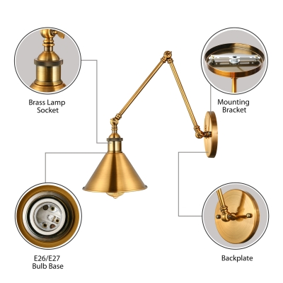 Brushed Brass Single Wall Sconce Swing Arm Picture Light for Living Room Bedside