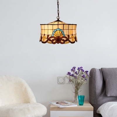Cake Shade Suspension Light Tiffany Victorian Stained Glass Triple Light Accent Pendant Lamp