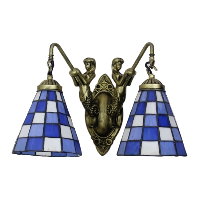 Checkered Pattern Wall Light Fixture Tiffany Style Blue Glass 2 Bulbs Sconce Light