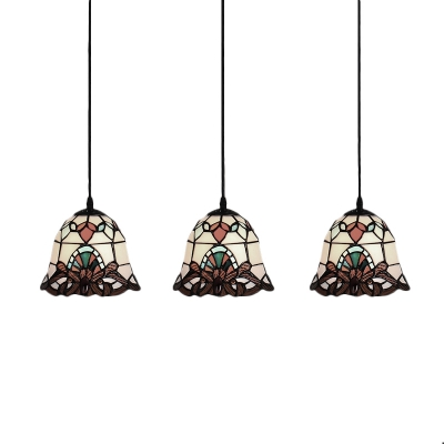 Dome Ceiling Pendant Light Tiffany Baroque Stained Glass 3 Lights Suspended Light for Corridor