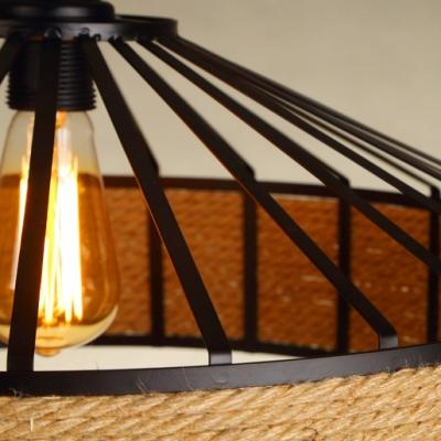 Manila Rope Shade Suspension Light Industrial Metal Single Drop Light in Black for Restaurant