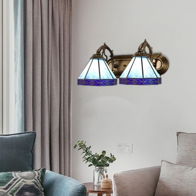 Navy Blue Geometric Wall Lighting Tiffany Style Stained Glass Double Heads Wall Lamp