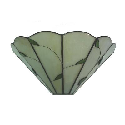 Simple Style Green Leaf Motif Tiffany Beige Glass Wall Washer 12