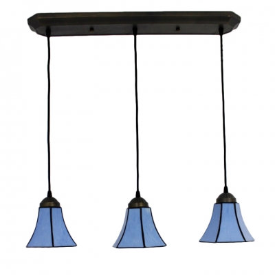 Stained Glass Bell Suspended Light Tiffany Style Adjustable Triple Pendant Light in Blue