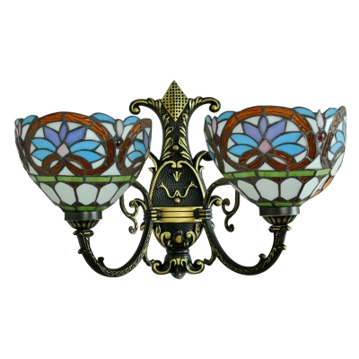 Stained Glass Bowl Wall Lighting Victorian Double Heads Decorative Wall Lamp in Multicolor
