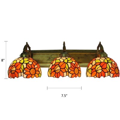 Sunflower Lighting Fixture Tiffany Country Style Stained Glass Triple Wall Light with Curved Arm