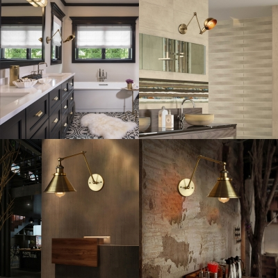 Swing Arm Aged Brass Wall Sconce in Dome Shade Industrial Style 1 Light Wall Mount Lamp for Living Room Study Room