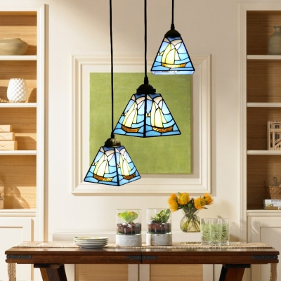 Triple Head Sailboat Hanging Light Nautical Tiffany Stained Glass Pendant Light in Blue