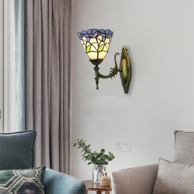 Up or Down 6 Inch Blue Stained Glass Leaf Motif One-light Tiffany Wall Sconce