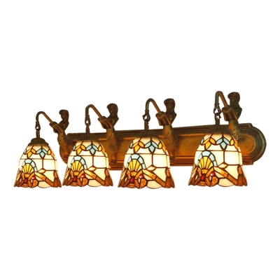 Victorian Bell Shade Sconce Light Stained Glass 4 Lights Wall Mount Fixture in Multicolor