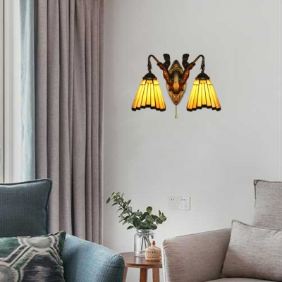 2 Lights Irregular Striped Shade Wall Sconce in Bronze Finish