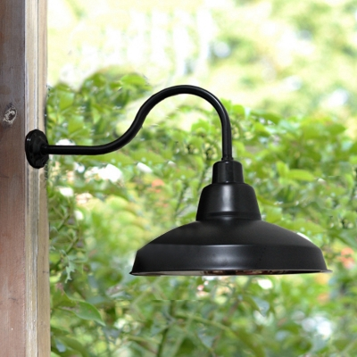 Barn Wall Mount Fixture Vintage Steel Single Bulb Wall Lamp in Glossy Black for Warehouse