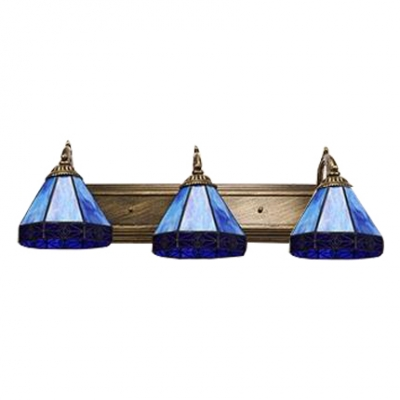 Beige/Navy Blue Geometric Wall Lamp Tiffany Style Stained Glass Accent Triple Wall Sconce