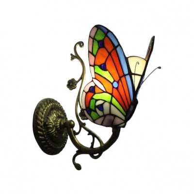 Butterfly Accent Wall Lamp Tiffany Style Wall Sconce Stained Glass in Antique Brass for Children Room