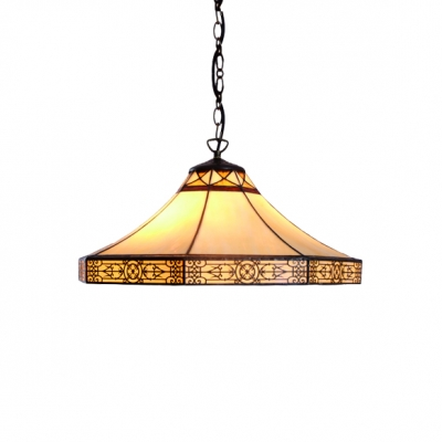 Hat Shade Ceiling Pendant Light Traditional Stained Glass Single Bulb Hanging Lamp in Beige
