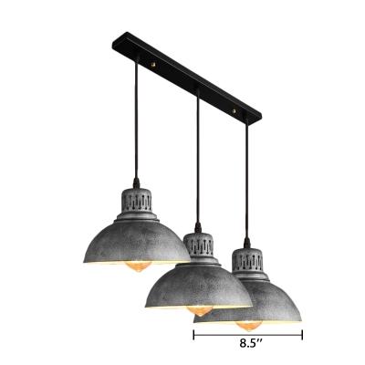 Industrial 3 Light Dome Shade Restoration Multi Light Pendant For Bars Beautifulhalo Com