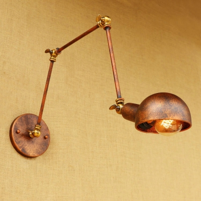 Industrial Swing Arm Wall Sconce Iron 1 Light Lighting Fixture in Rust for Restaurant, HL496296
