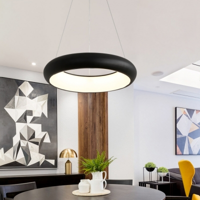 Matte Black Halo LED Pendant Lights Modern Style Metal 19.5