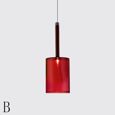 Modern Cylinder Hanging Light Fixture Single Head Suspension Lamp in Smoke/Orange/Red Glass for Bar Counter Cafe