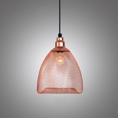 Rose Gold Dome Caged Hanging Lamp Contemporary Iron 1 Light Ceiling Pendant Light Beautifulhalo Com