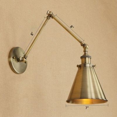 Rotatable 1 Head Cone Wall Light Industrial Iron Wall Sconce in Bronze for Foyer Bedside