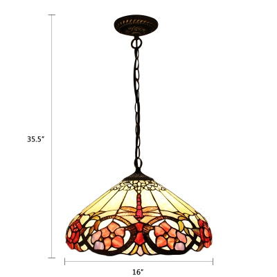 Single Light Floral Pendant Lamp Tiffany Style Lodge Glass Lighting