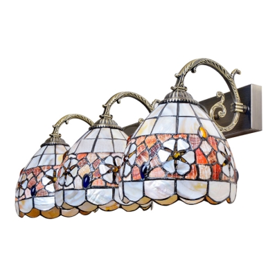 Triple Head Dome Wall Lamp Tiffany Style Shell Decorative Lighting Fixture in Multicolor