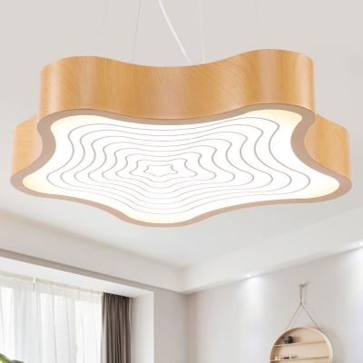 Wood Finish Star Pendant Light Modern Acrylic Shade Single Ceiling Pendant Light for Bedroom