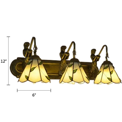 3 Lights Leaf Design Wall Light with Mermaid Tiffany Traditional Beige Glass Sconce Light