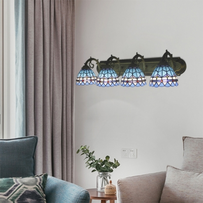 4 Lights Dome Sconce Light Tiffany Mediterranean Style Blue Glass Wall Mount Light