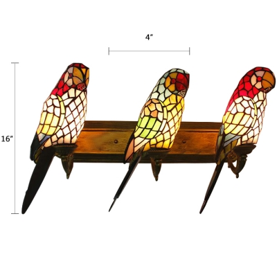 Stained Glass Wall Light 3 Light Parrot Wall Light Tiffany Sconce Lighting in Multicolor