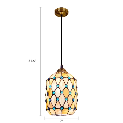 Cylinder Suspended Light Tiffany Style Stained Glass Hanging Lamp with Bead Decoration