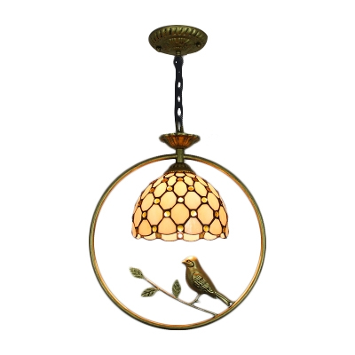 Adjustable Jeweled Drop Light Tiffany Country Style Beige Glass Pendant Light with Bird