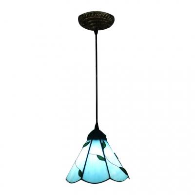 Купить со скидкой Beige/Blue Leaf Pendant Light Tiffany Style Glass 1 Light Suspension Light for Bedroom