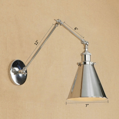 Chrome Finish Swing Arm Wall Light Concise Simple Metal 1 Light Lighting Fixture for Study Room