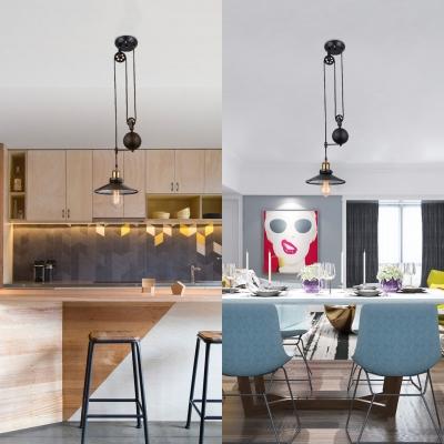 Cord Adjustable Shallow Round Pendant Light Industrial Single Light Metal Hanging Lamp