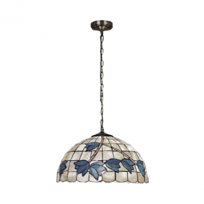 Flower Style Suspended Light Tiffany Style Shelly 1/3 Lights Pendant Lamp in Beige for Porch