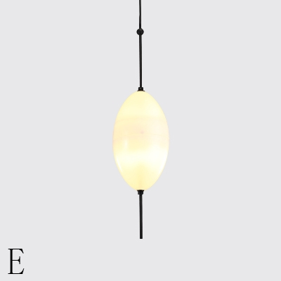 Frosted Glass Single Drop Light Black Finish Nordic Hanging Pendant Lights for Cafe Restaurant Book Store